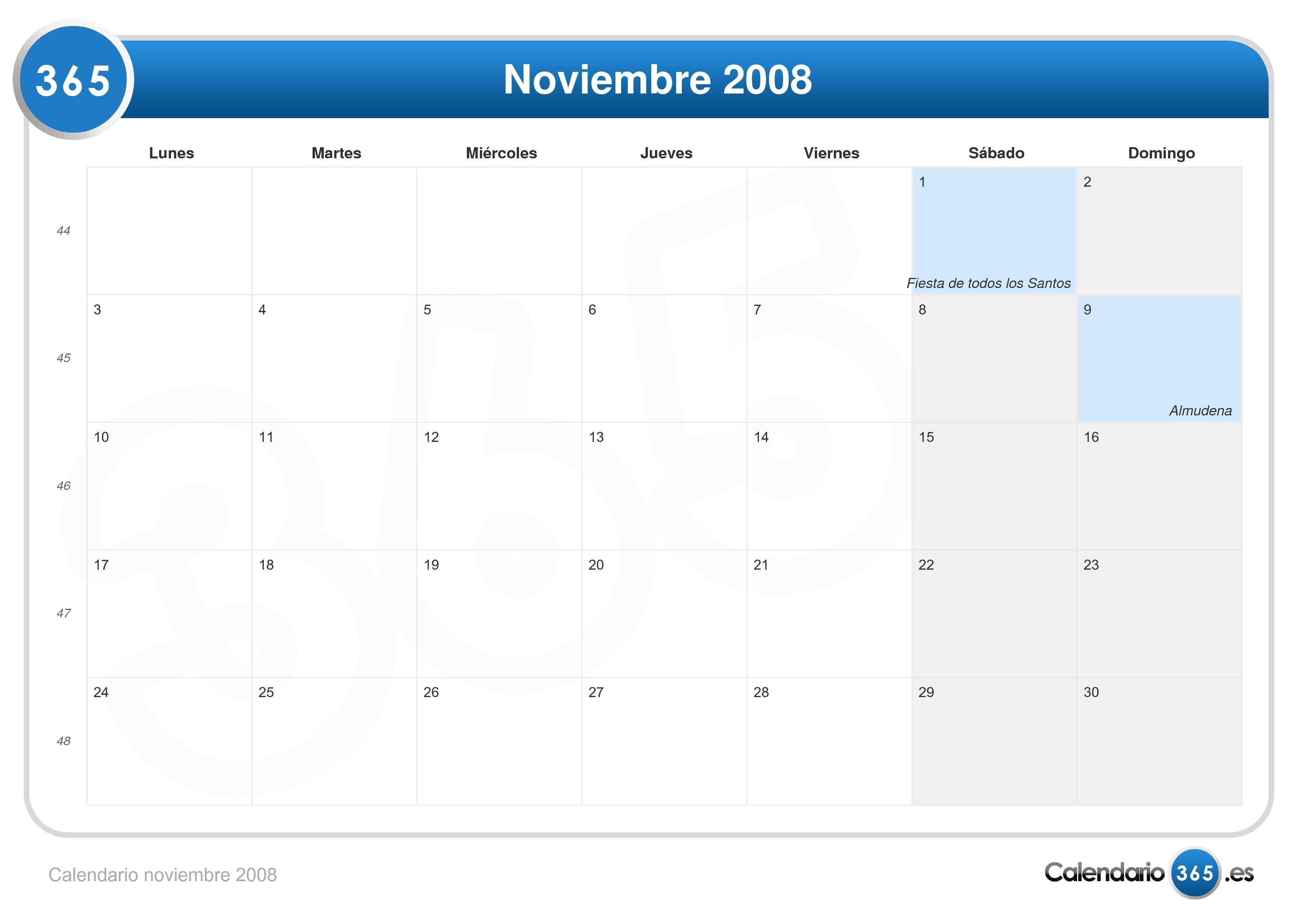 Calendario 2008.Calendario Noviembre 2008