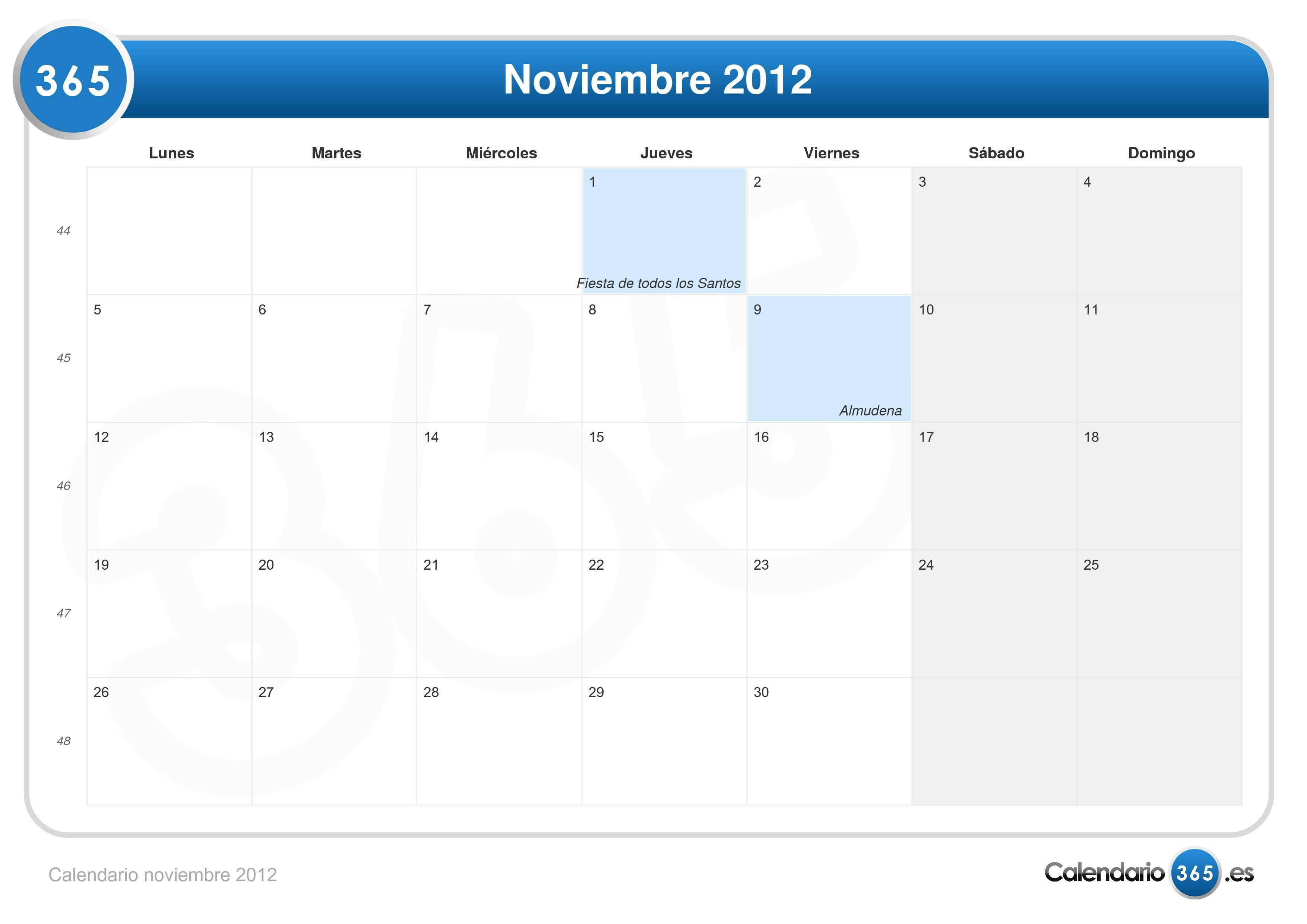 Calendario noviembre 2012