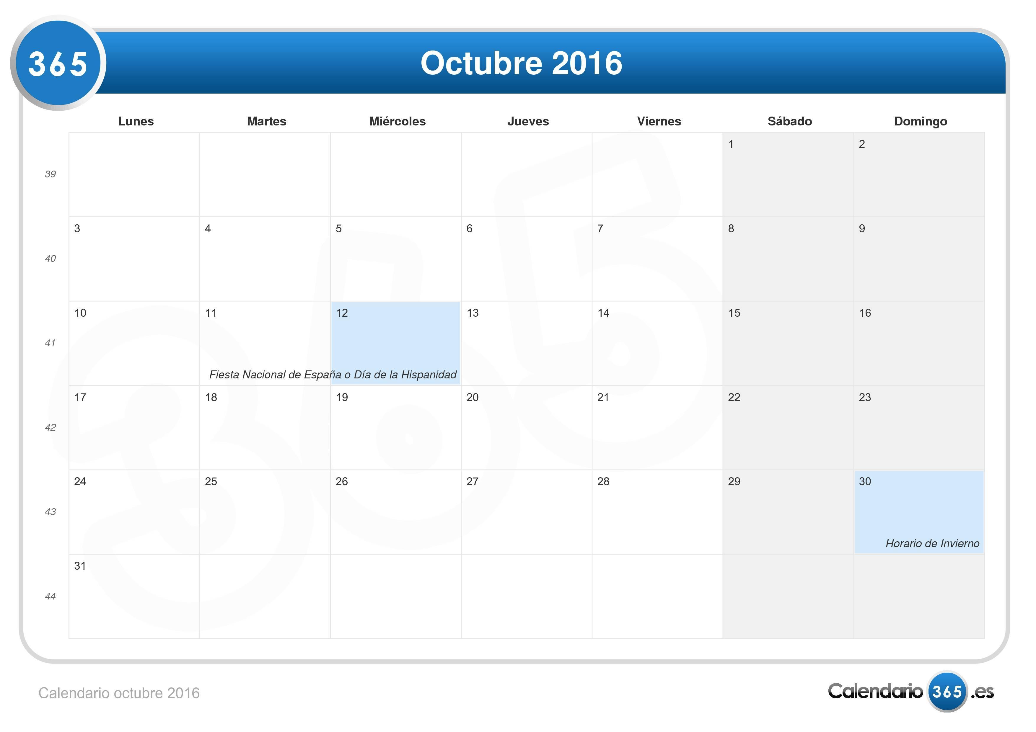 Calendario octubre 2016