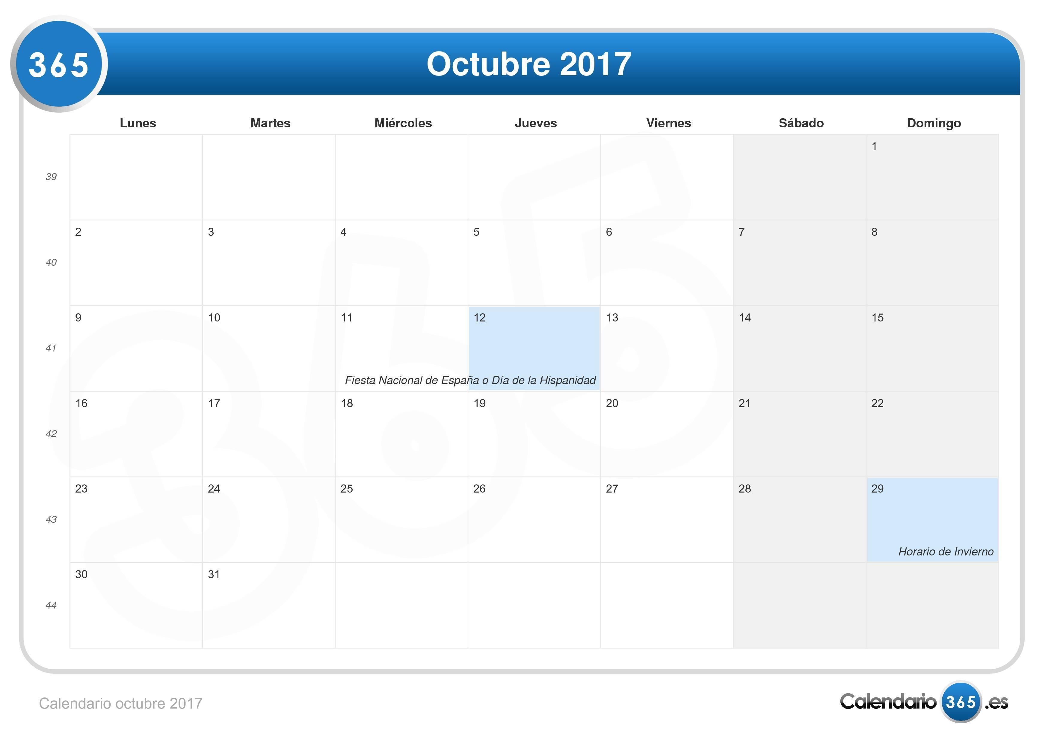 Calendario octubre 2017 - Mes noviembre 2017 ...