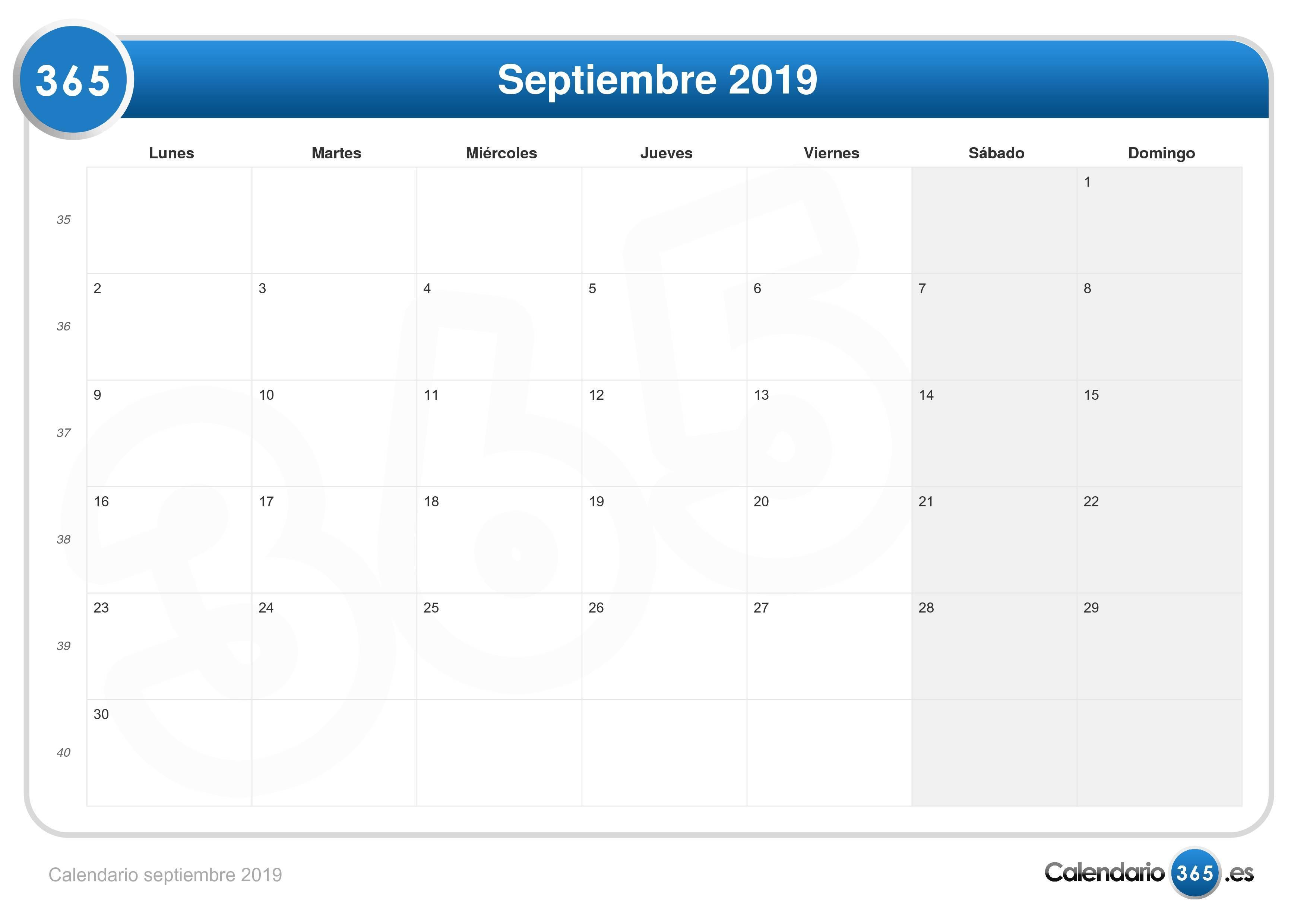 Calendario De Septiembre.Calendario Septiembre 2019
