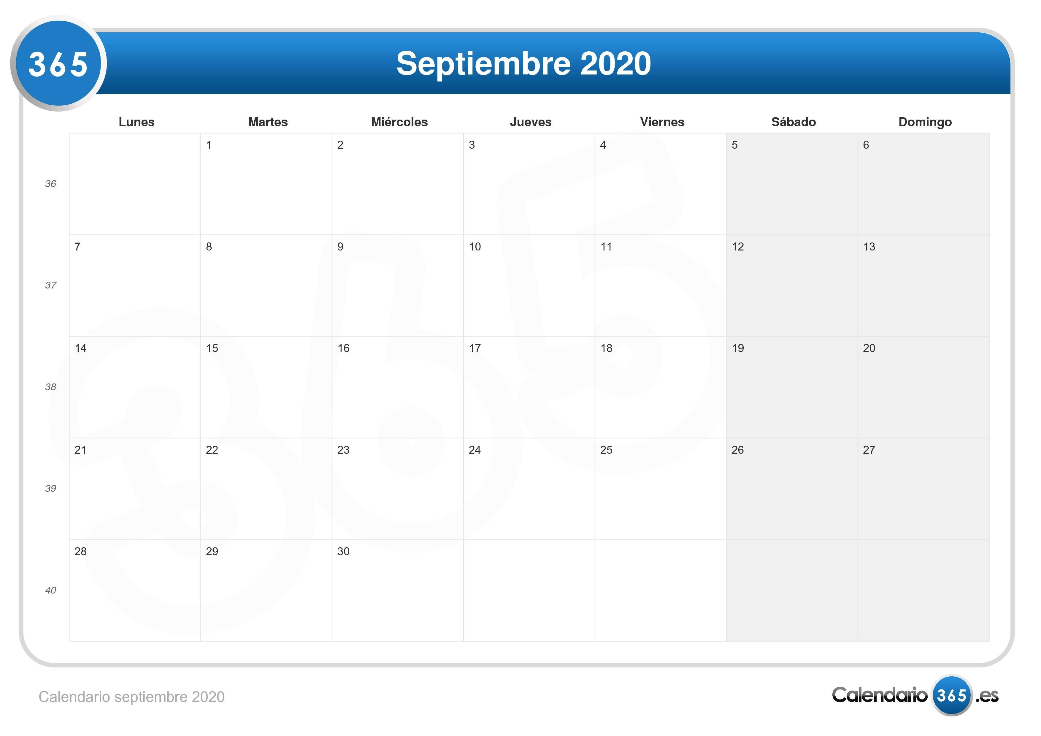 Calendario Zaragozano 2020.Calendario Septiembre 2020
